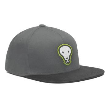 Flatgekko™ Skull Dark Grey/Black Snapback Baseball Cap