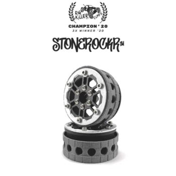 "PROCRAWLER® Flatgekko™ Stonerockr™ Douwe's Humz 1.9"" LCG Offset Wheel Set /w Silver Front Ring"