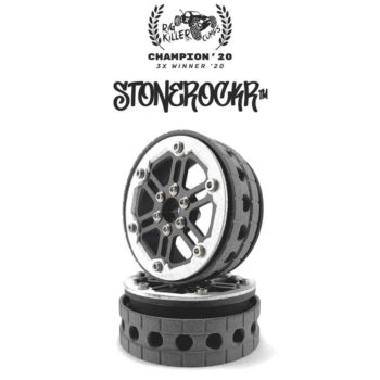 "PROCRAWLER® Flatgekko™ Stonerockr™ Douwe's Humz 2.2"" Narrow LCG Offset Wheel Set /w Silver Front Ring"