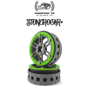 "PROCRAWLER® Flatgekko™ Stonerockr™ Douwe's Humz 2.2"" Narrow LCG Offset Wheel Set /w Fluo Green Front Ring"